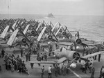 Corsair fighters and Barracuda torpedo bombers aboard HMS Formidable, in the Atlantic Ocean off Norway, Jul 1944