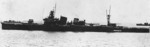 Furutaka with her rails manned, probably during the naval review off Yokohama, Japan, 25 Aug 1933; stripes on smokestake noted her membership in the 6th Sentai (Squadron)