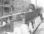 Electric Boat Company workers laying the keel of future submarine Gar, Groton, Connecticut, United States, 1000 hours on 27 Dec 1939