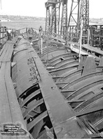 Submarine Gar under construction, Groton, Connecticut, United States, 27 Jun 1940; topside view looking aft