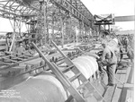 Submarine Gar under construction, Groton, Connecticut, United States, 28 Sep 1940, photo 1 of 2; topside stern view looking forward