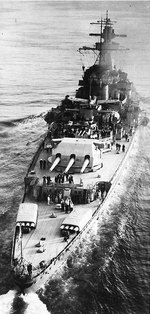 Panzerschiff Admiral Graf Spee in the English Channel, Apr 1939, photo 3 of 3; note Arado Ar 196 A-1 floatplane her catapult