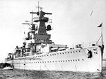 Admiral Graf Spee moored in harbor, circa 1936-1937