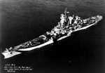 Aerial view of large cruiser Guam, Philadelphia Navy Yard, Pennsylvania, United States, 25 Oct 1944, photo 2 of 5