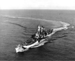 USS Guam turning, circa 1944
