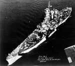 Aerial view of large cruiser Guam, Philadelphia Navy Yard, Pennsylvania, United States, 25 Oct 1944, photo 1 of 5