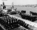 Recommissioning ceremony of Guitarro, Hammerhead, and Hardhead at Mare Island Naval Shipyard, California, United States, 6 Feb 1952