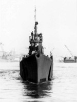 Bow view of USS Gunnel off Mare Island Naval Shipyard, Vallejo, California, United States, Oct 1943