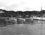 Ha-101, Ha-102, and Ha-104 at Yokosuka Naval Base, Japan, 7 Sep 1945; note five Kairyu submarines on left
