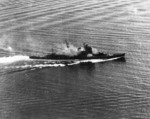 Haguro or Myoko firing at attacking US carrier aircraft during Battle of Sibuyan Sea, 24 Oct 1944