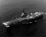 USS Hancock off San Diego, California, United States, 11 Feb 1975; note twelve A-4 Skyhawk attack aircraft and one SH-3 helicopter on the flight deck
