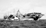 USS Hancock being refueled, Pacific Ocean, 25 Oct 1944