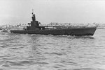 Starboard side view of USS Harder, Mare Island Navy Yard, Vallejo, California, United States, 19 Feb 1944, photo 2 of 2
