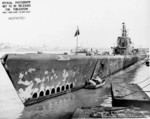 Bow view of USS Harder, Mare Island Navy Yard, Vallejo, California, United States, 7 Feb 1944
