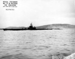 Port side view of USS Harder, Mare Island Navy Yard, Vallejo, California, United States, 19 Feb 1944