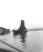 Battleship Haruna in her sunken state at Kure, Japan, Oct 1945