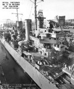 USS Helena at Mare Island Navy Yard, Vallejo, California, United States, 27 Jun 1942