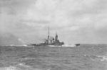 Japanese battlecruiser Hiei during a fleet exercise south of Oshima Island, south of Tokyo Bay, Japan, 24 Oct 1927