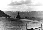 Heavy cruisers Admiral Hipper and Admiral Scheer leaving a Norwegian fjord, photographed from Tirpitz, circa 1942