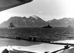 Heavy cruiser Admiral Hipper and destroyers in a Norwegian fjord, photographed from Tirpitz, circa 1942