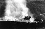 Hiryu burning, photographed by a plane of carrier Hosho, 5 Jun 1942, photo 2 of 2