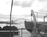 Hobart in Sydney Harbor, seen from USS Currituck, 20 Mar 1947