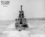 Stern view of USS Hoe, off Mare Island Naval Shipyard, California, United States, 20 Jun 1945
