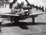 SB2C Helldiver aircraft of US Navy Bombing Squadron 17 preparing for launch from USS Hornet (Essex-class) for strikes against Japan, Mar 1945