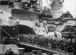Fairfield shipyard workers aboard HMS Howe at Govan, Scotland, United Kingdom, Jul 1942
