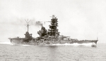 Hybrid battleship-carrier Hyuga underway, 1944
