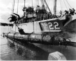 USS Current raising wreck of midget submarine I-18tou, Keehi Lagoon, Hawaii, United States, 13 Jun 1960