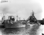 Battleship Indiana at Pearl Harbor Navy Yard, US Territory of Hawaii, 13 Feb 1944, photo 1 of 4; note damage from collision with Washington