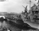 Battleship Indiana at Pearl Harbor Navy Yard, US Territory of Hawaii, 13 Feb 1944, photo 4 of 4; note damage from collision with Washington