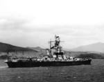 Battleship Indiana in a South Pacific harbor, Dec 1942