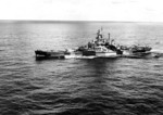 Battleship Indiana en route to attack Taroa Island airfield, Maloelap Atoll, Marshall Islands, 27 Jan 1944; photo 1 of 2