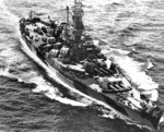 Battleship Indiana en route to attack Taroa Island airfield, Maloelap Atoll, Marshall Islands, 27 Jan 1944; photo 2 of 2
