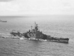 Battleship Indiana underway at sea, circa late Jan 1944; cropped from US Navy Naval Historical Center photograph NH 52662 to emphasize the camouflage scheme