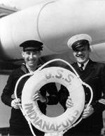 Crewmen of Indianapolis holding her life ring, circa 1935