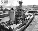 Indianapolis at Mare Island Navy Yard, CA, for upgrades, 12 Jul 1945, photo 3 of 4