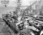 Indianapolis at Mare Island Navy Yard, CA, for upgrades, 12 Jul 1945, photo 4 of 4