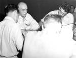 Captain McVay of Indianapolis spoke of the sinking at Guam, Aug 1945