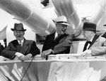 Secretary of the Navy Claude A. Swanson, President Franklin Roosevelt, and Ambassador Josephus Daniels aboard Indianapolis, 31 May 1934