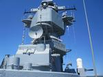 Close-up of the top of the superstructure of museum ship Iowa, 2012
