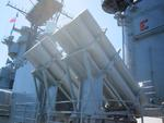 Harpoon launchers aboard museum ship Iowa, 2012