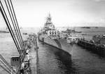 USS Iowa entering floating drydock ABSD-2 for temporary repairs, Seeadler Harbor, Manus, Admiralty Islands, 28 Dec 1944, photo 1 of 3