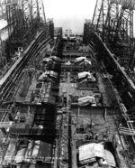 Battleship Iowa under construction, New York Navy Yard, New York, United States, 27 Jun 1941