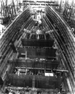 Battleship Iowa under construction, New York Navy Yard, New York, United States, 30 Dec 1940