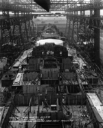 Battleship Iowa under construction, New York Navy Yard, New York, United States, 3 Jul 1942