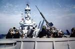 20mm Oerlikon cannon crew engaged in anti-aircraft exercise aboard USS Iowa, May 1943