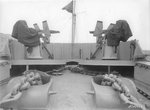 20mm Oerlikon mounts on the main deck at the bow of USS Iowa, New York Navy Yard, New York, United States, 9 Jul 1943
